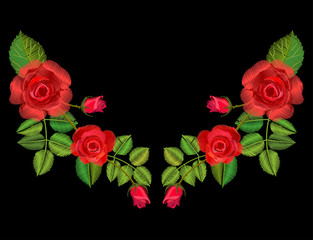 Embroidery design red roses symmetrical ornament.