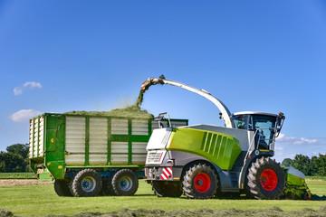 Ernte - Grassilage, Häcksler befüllt einen Ladewagen mit Gras