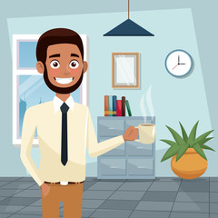 color background workplace office half body bearded and brunette man execuitive with cup of coffee vector illustration