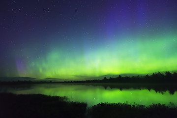 Colorful northern lights on horizon reaching up into dark sky full of stars