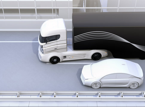 Commercial truck trying change lane and a sedan car on truck's blind spot position. 3D rendering image.