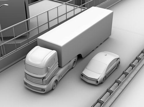 Commercial truck trying change lane and a sedan car on truck's blind spot position. 3D clay model rendering image.
