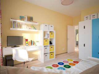 Modern Urban Contemporary Scandinavian Children Room Interior Design Yellow, White and Blue colors. 3d rendering