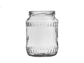 Empty glass jar  on a light background