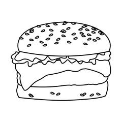 hamburger classic american cheeseburger with lettuce tomato onion sauce fast food vector illustration