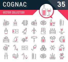 Set Vector Flat Line Icons Cognac