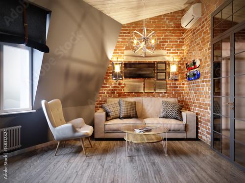 urban contemporary modern scandinavian loft living room interiorurban contemporary modern scandinavian loft living room interior design on attic with gray and red brick