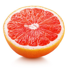 Ripe half of pink grapefruit citrus fruit isolated on white background. Pink grapefruit half with clipping path