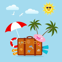A suitcase with a palm tree on a blue background