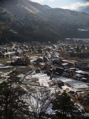 First snow in Shirakawago, Japan