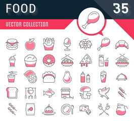 Set Line Icons Food
