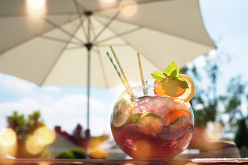 Sangria punch on a summer terrace