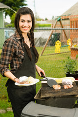 Pretty Woman Smiling Cooking Steaks Barbecue Backyard Food Grill