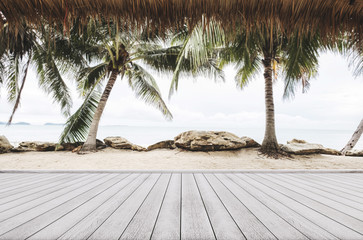 Beach background, wooden floor with the beach background