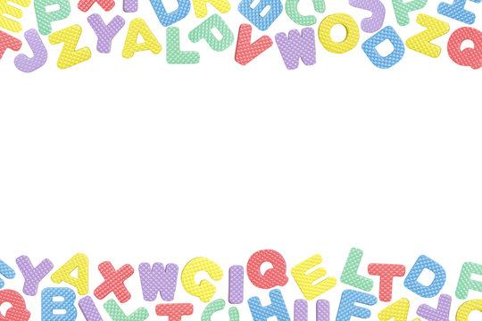 English alphabet frame isolated on white background