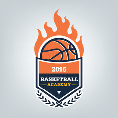 Basketball sport logo template design, vector illustration