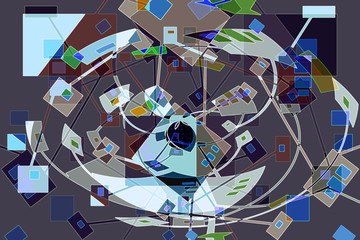 Carnival is an active and playful abstract with geometric shapes and color changes.