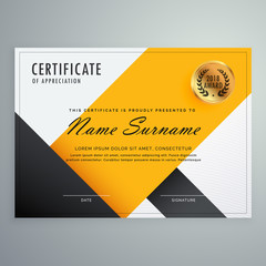 modern yellow and black certificate design template