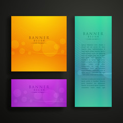 colorful banner design in three different sizes