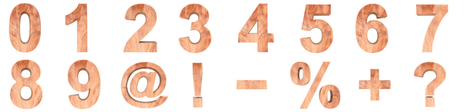 3D illustration set of wooden numbers and math symbols. rendering illustration. Isolated on white background