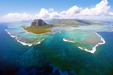 Fotobehang Luchtfoto Aerial view of Le Morne Brabant mountain which is in the World Heritage list of the UNESCO