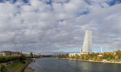 Panoramic view of Basel with Roche Tower