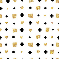 Abstract Seamless Pattern. Seamless Pattern with golden glitter elements. Vector illustration