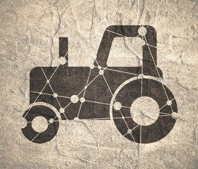 Low polygon style illustration of a farmer vintage tractor. Concrete grunge texture