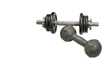 two dumbbells isolated on white background