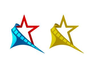 Star, filmstrip, crescent, vector illustration