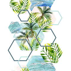 Foto auf AluDibond Grafik Druck Watercolor tropical leaves and palm trees in geometric shapes seamless pattern