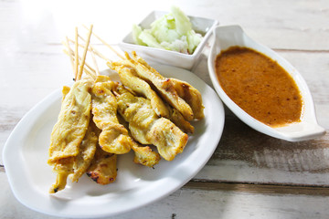 Grilled pork satay with peanut sauce, Thai food