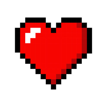 Pixel art heart love color icon valentine