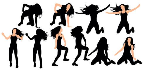 silhouette of sexy girl dancing dance, set