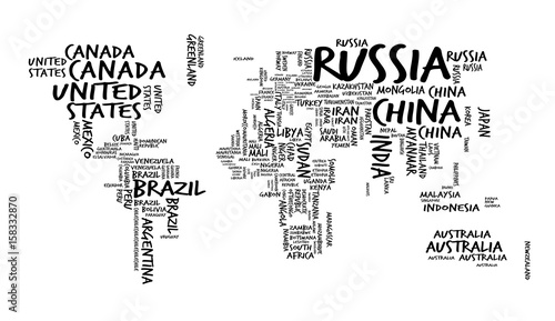 World Map with Countries name Text or Typography, Hand drawn sketch ...