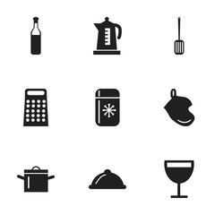 Set Of 9 Editable Cooking Icons. Includes Symbols Such As Beer, Wineglass, Potholder And More. Can Be Used For Web, Mobile, UI And Infographic Design.