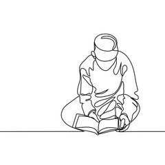 Boy in fez reading Koran. Continuous line drawing vector illustration