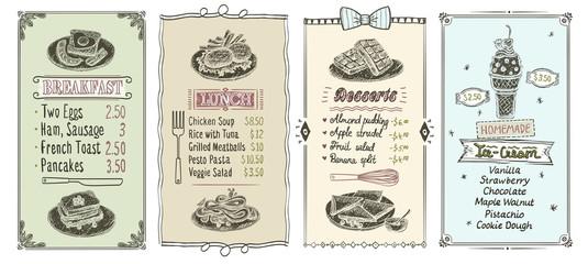 Hand drawn menu set