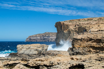 Place where was Azure Window after collapse in Gozo Island, Malta
