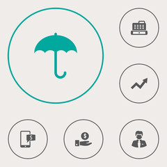 Set Of 6 Budget Icons Set.Collection Of Online Banking, Cashbox, Save Money And Other Elements.
