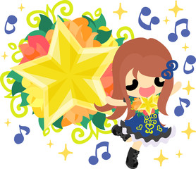 A cute little girl who is singing and an ornament of stars