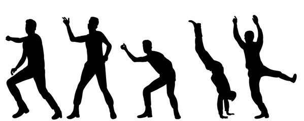 Silhouette of male dancer dancing  collection