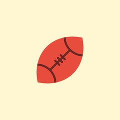 Flat Rugby Element. Vector Illustration Of Flat American Football  Isolated On Clean Background. Can Be Used As Ball, Football And Rugby Symbols.