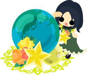 A cute little girl and a globe of stars