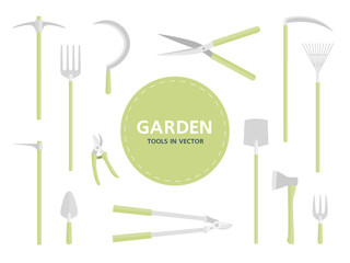 Garden tools. Set of equipment on white background. Vector illustration