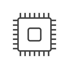 Isolted Microprocessor Outline Symbol On Clean Background. Vector Cpu Element In Trendy Style.