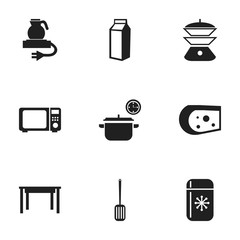 Set Of 9 Editable Restaurant Icons. Includes Symbols Such As Fridge, Saucepan, Desk And More. Can Be Used For Web, Mobile, UI And Infographic Design.