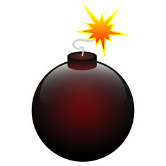 Round black and red bomb