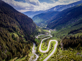 Transfagarasan Romania winding road aerial view