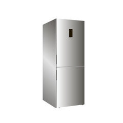 Home refrigerator on a white background. 3D
